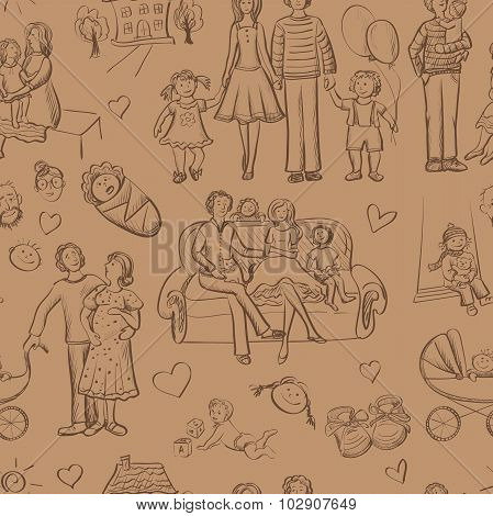 hand drawn seamless pattern with happy families