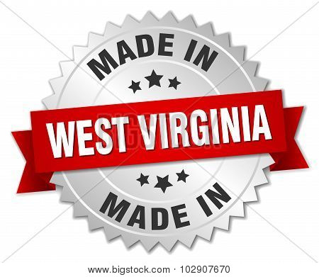 Made In West Virginia Silver Badge With Red Ribbon