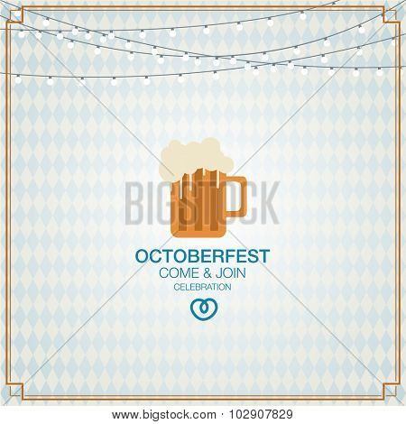octoberfest background with lamp. Pretzels with beer