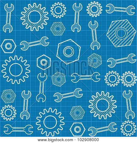 Vector Seamless Pattern With A Wrench And Gears.