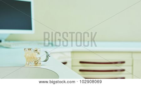Working place at table with computer.
