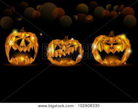 Halloween card with three jack-o-lanterns