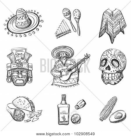 Set of Mexico vector illustrations