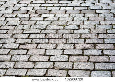 Old pavement of bricks