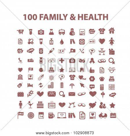 100 family, health icons
