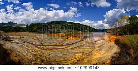 polluted lake in Geamana, Alba county, Romania