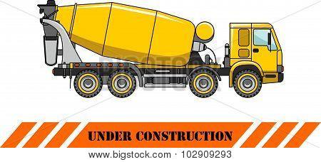 Concrete mixer. Heavy construction machines. Vector illustration