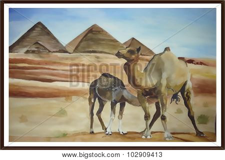 Camels In The Desert (watercolor)
