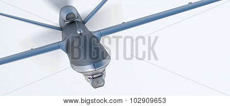 Drone UAV in flight, front view, 3D illustration