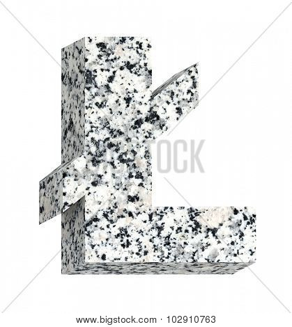 Pound sign from granite alphabet set isolated over white. Computer generated 3D photo rendering.