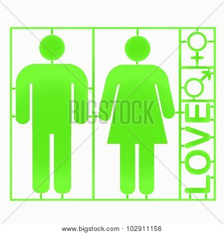 Plastic gender symbols - vector
