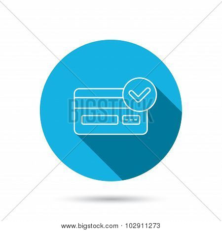 Approved credit card icon. Shopping sign.