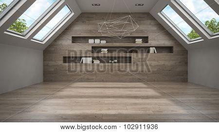 Empty mansard room with shelf 3D rendering