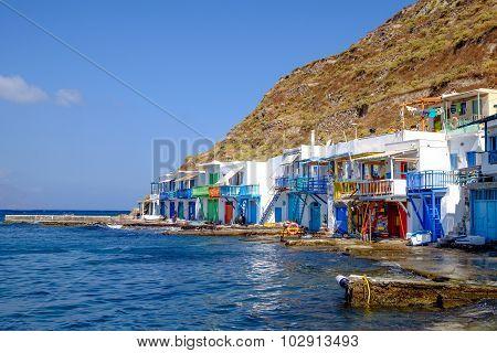Klima, Greece - 27 August 2015: Scenic View Of Traditional Fisherman Village Klima On Milos Island,