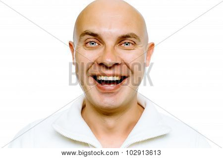 Bald Smiling Blue-eyed Man. Studio. Isolated