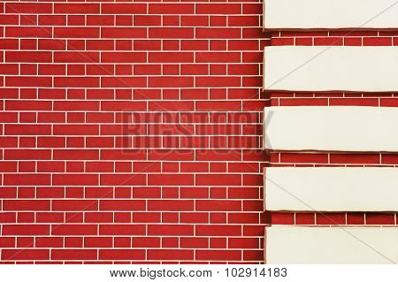Red Brick Wall Detail. Background.