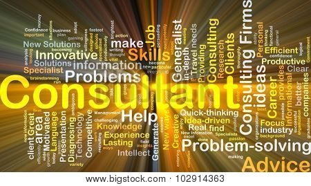Background concept wordcloud illustration of consulting glowing light