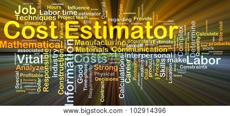 Background concept wordcloud illustration of cost estimator glowing light