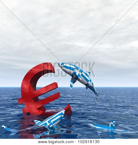 Concept or conceptual bloody euro symbol or sign sinking in water or sea, with Greece sharks eating as a metaphor for crisis in Europe