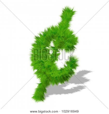 Concept or conceptual green grass, eco or ecology font or symbol, part of a set or collection isolated on white background