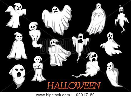 White flying Halloween monsters and ghosts