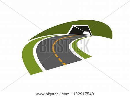 Road tunnel through green hill icon