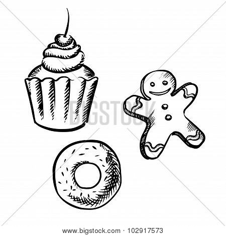 Cupcake, gingerbread man and donut sketches