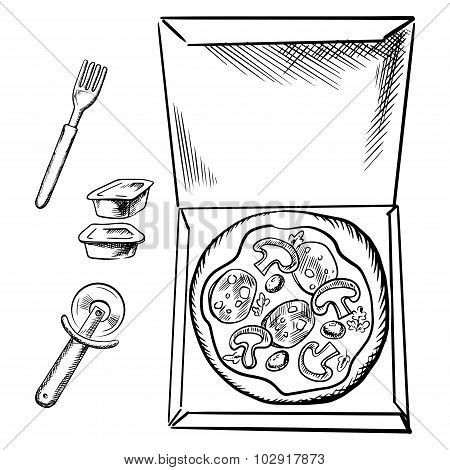 Pizza box, sauce cups, fork and cutter sketch
