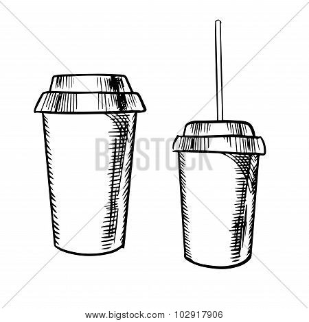Takeaway coffee and soda drinks sketches