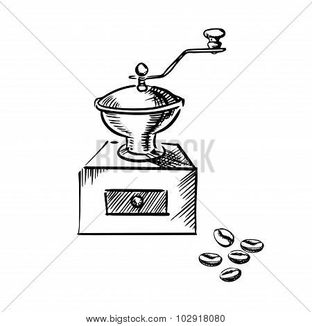 Coffee mill grinder with coffee beans