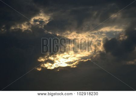 Dark Clouds At Sunset.