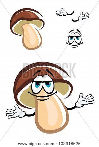 Cartoon forest pine bolete mushroom character