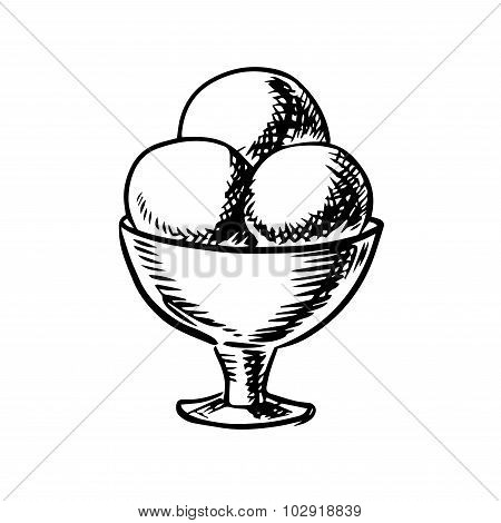 Sketch of ice cream scoops in sundae bowl