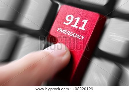 Hand Press 911 Button On Keyboard