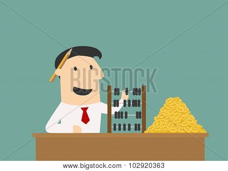 Businessman counting money with abacus
