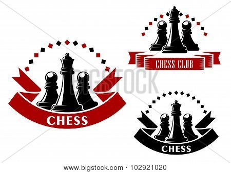 Chess game icons with black queens and pawns