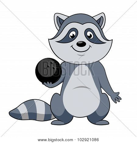 Cartoon raccoon player with bowling ball
