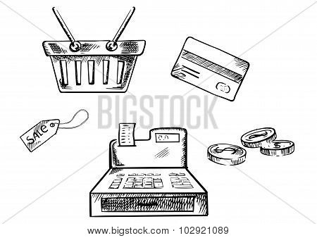 Sketches of shopping icons and symbols
