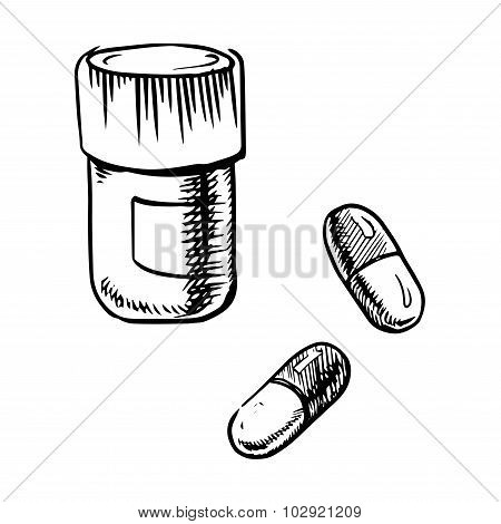 Bottle sketch with pills and capsules