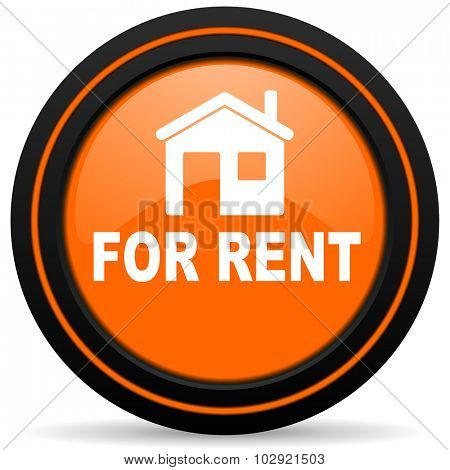 for rent orange glossy web icon on white background
