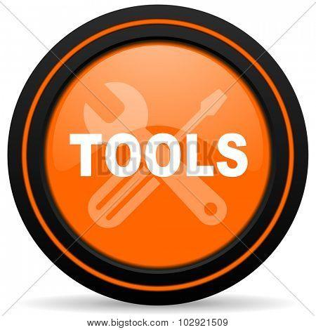 tools orange glossy web icon on white background