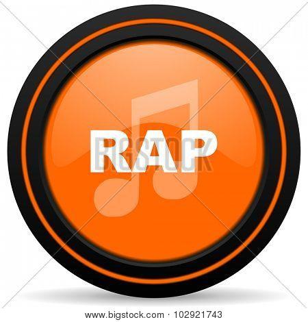 rap music orange glossy web icon on white background