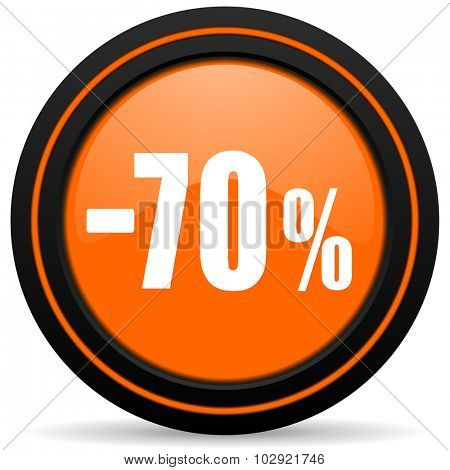70 percent sale retail orange glossy web icon on white background