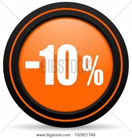 10 percent sale retail orange glossy web icon on white background