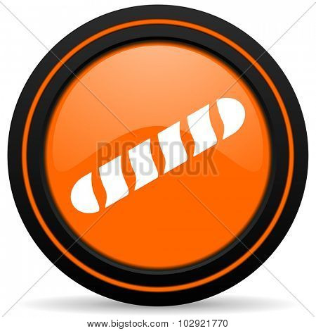 baguette orange glossy web icon on white background