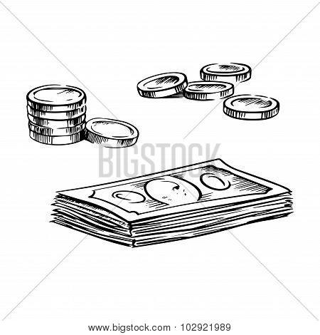 Coins and stacks of dollar bills sketches