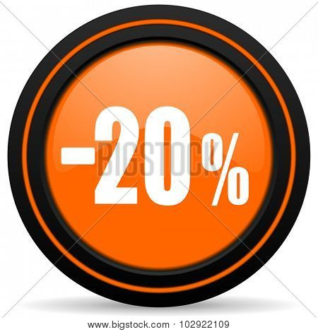 20 percent sale retail orange glossy web icon on white background