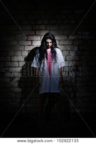 Zombie girl in the ancient house