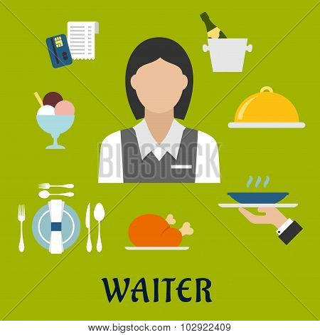 Waitress with restaurant utensil and food