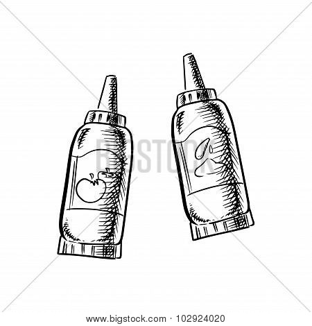 Ketchup and mustard bottles sketch icons